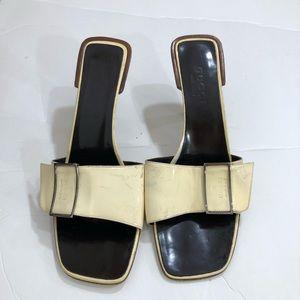 Retro Gucci Square Patent Leather slides size 8.5